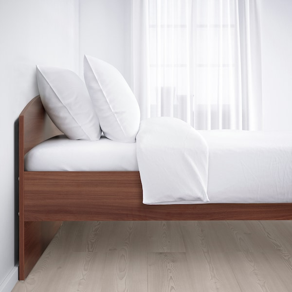 NODELAND bed frame with headboard medium brown 205 cm 145 cm 685 cm 410 cm 685 cm 200 cm 140 cm