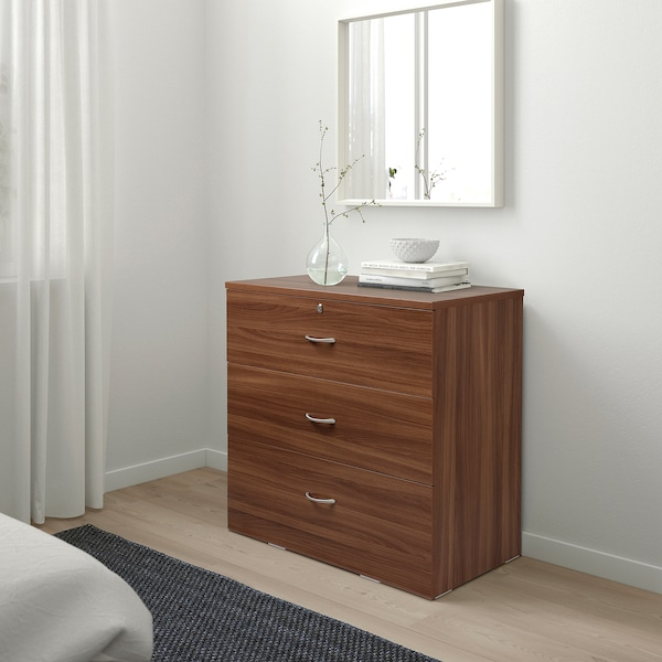 NODELAND Chest of 3 drawers, medium brown, 80x78 cm