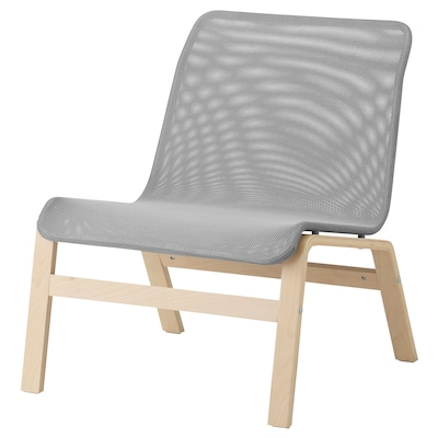 NOLMYRA easy chair birch veneer/grey 64 cm 75 cm 75 cm 59 cm 46 cm 40 cm