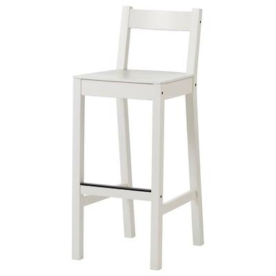 NORDVIKEN Bar stool with backrest, white, 75 cm