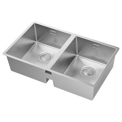 NORRSJÖN Inset sink, 2 bowls, stainless steel, 73x44 cm