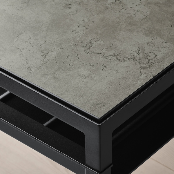 NYBODA coffee table w reversible table top dark grey concrete effect/black 120 cm 40 cm 40 cm