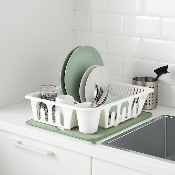 NYSKÖLJD Dish drying mat, green, 44x36 cm