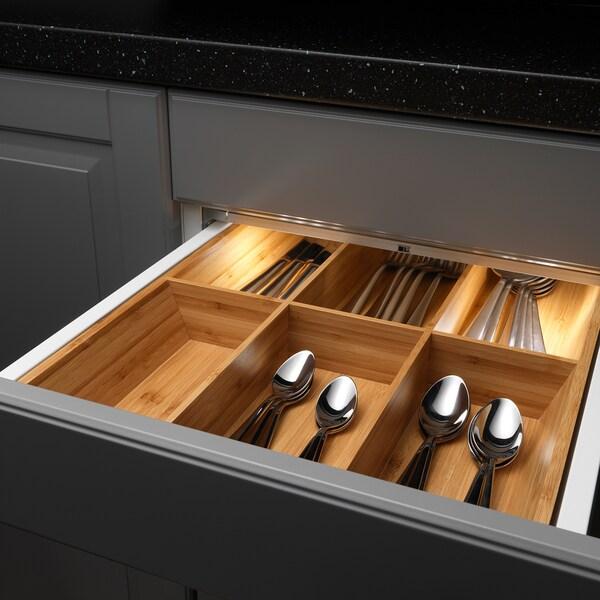 OMLOPP LED lighting strip for drawers, aluminium-colour, 36 cm