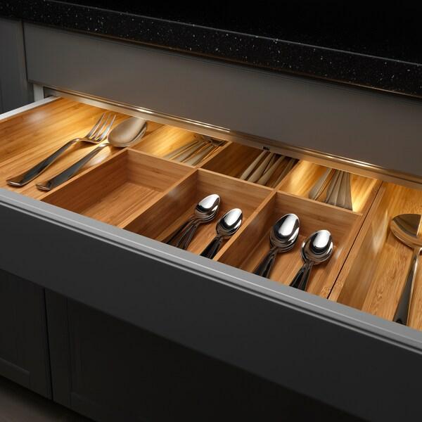 OMLOPP LED lighting strip for drawers, aluminium-colour, 76 cm