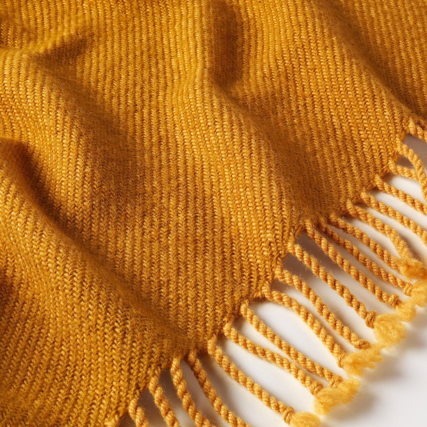 OMTÄNKSAM Throw, yellow, 60x160 cm
