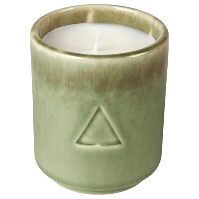 OSYNLIG Scented candle in pot, Cotton flower & apple blossom/green brown, 7 cm