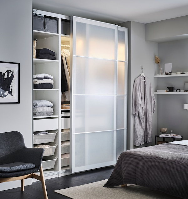 PAX 3 wardrobe frames, white, 200x35x201 cm