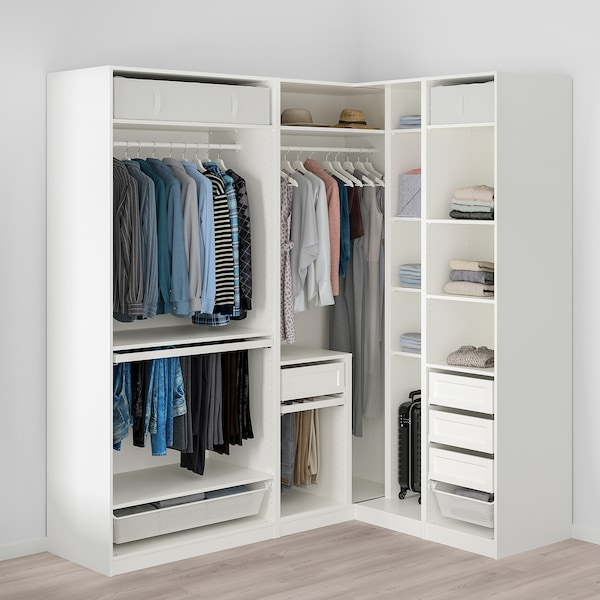 PAX Corner wardrobe, white, 210/160x236 cm