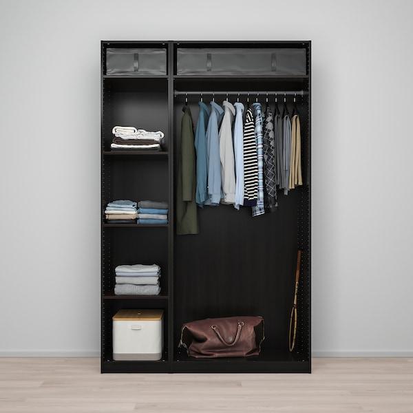 PAX / FORSAND/VIKEDAL Wardrobe combination, black-brown/mirror glass, 150x60x236 cm