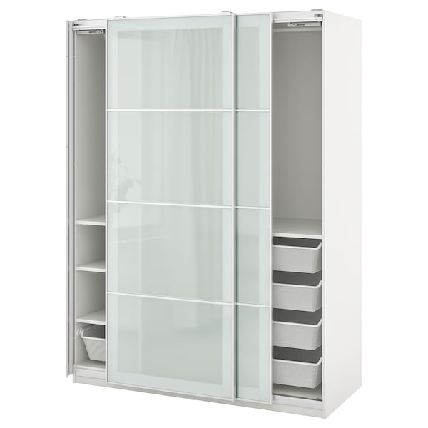 PAX / SEKKEN Wardrobe combination, white/frosted glass, 150x66x201 cm