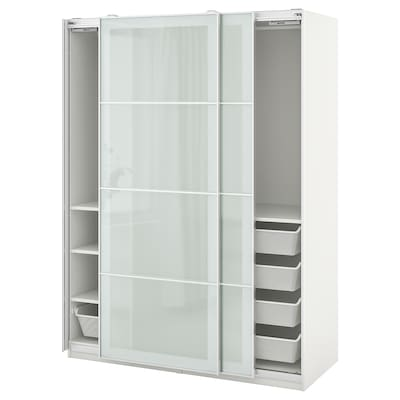PAX / SEKKEN Wardrobe combination, white/frosted glass, 150x66x201 cm