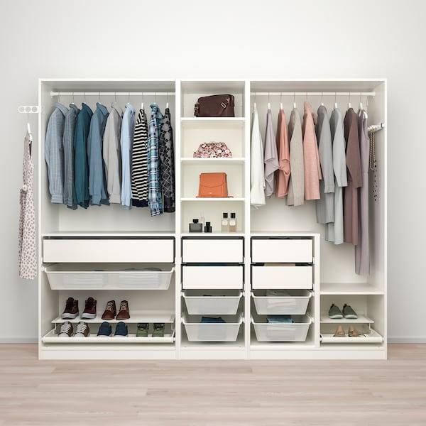 PAX Wardrobe combination, white, 250x58x201 cm