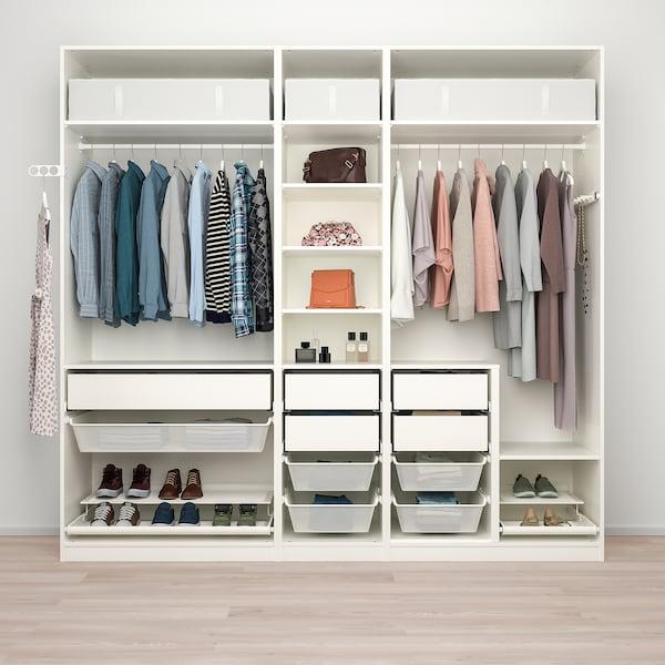 PAX Wardrobe combination, white, 250x58x236 cm