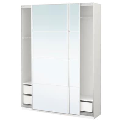 PAX Wardrobe, white/Auli mirror glass, 150x44x201 cm