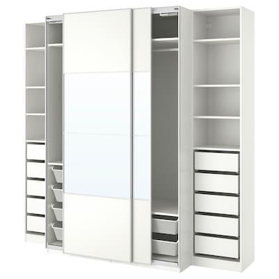 PAX Wardrobe, white/Mehamn Auli, 250x66x236 cm