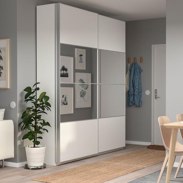 PAX Wardrobe, white/Mehamn Auli, 200x44x236 cm