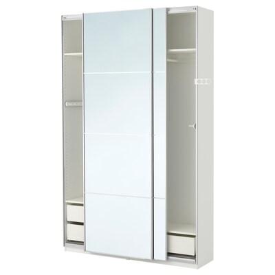 PAX wardrobe white/Auli mirror glass 150 cm 44 cm 236.4 cm