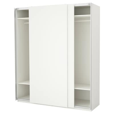PAX wardrobe white/Hasvik white 200 cm 66 cm 236.4 cm