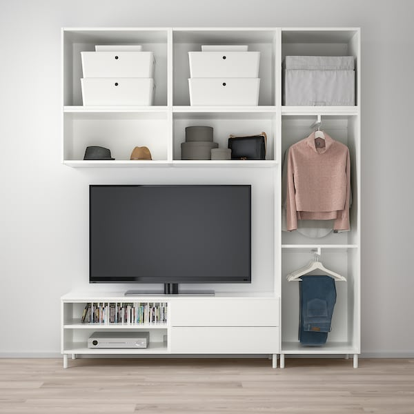 PLATSA TV/storage comb w 12 doors+2 drwrs, white/Fonnes Värd, 220x42x251 cm