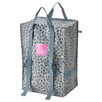 PLUGGHÄST Bag, patterned blue, 72 l