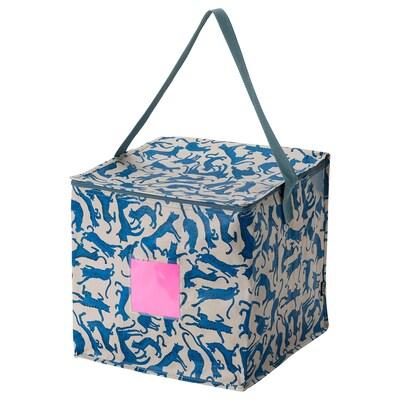 PLUGGHÄST Storage bag, patterned cat/blue beige