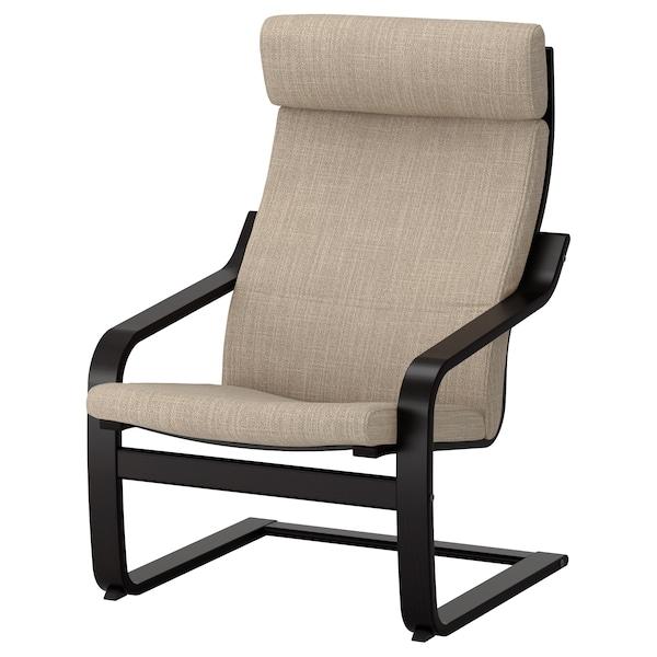 POÄNG Armchair, black-brown/Hillared beige