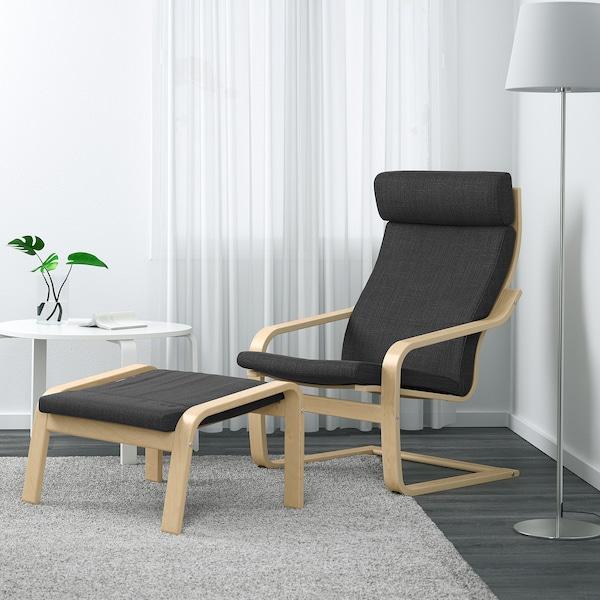 POÄNG Footstool, birch veneer/Hillared anthracite