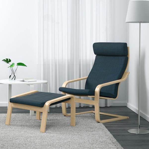POÄNG Footstool, birch veneer/Hillared dark blue