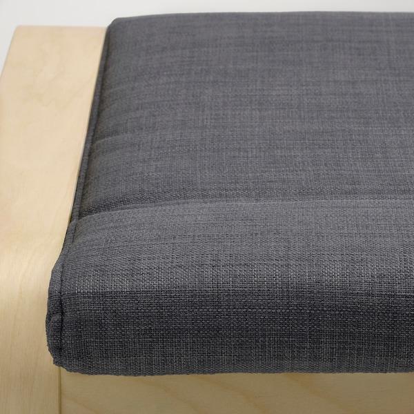 POÄNG Footstool, birch veneer/Skiftebo dark grey