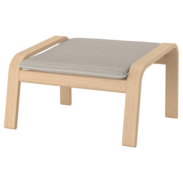 POÄNG Footstool, white stained oak veneer/Knisa light beige
