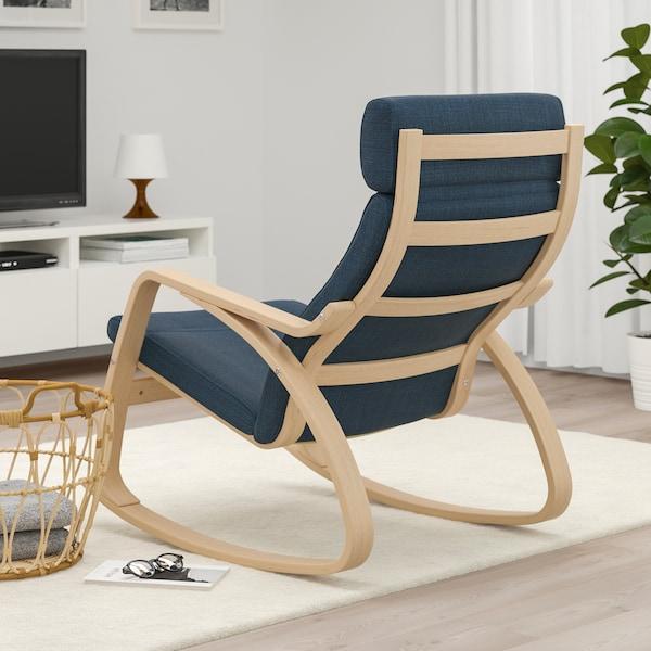 POÄNG Rocking-chair, white stained oak veneer/Hillared dark blue