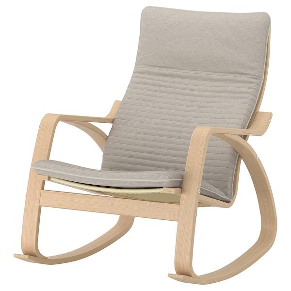 POÄNG Rocking-chair, white stained oak veneer/Knisa light beige