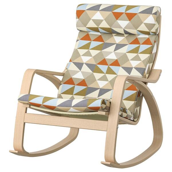 POÄNG Rocking-chair, white stained oak veneer/Rockneby multicolour