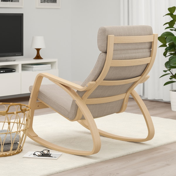 POÄNG rocking-chair white stained oak veneer/Hillared beige 68 cm 94 cm 95 cm 56 cm 50 cm 45 cm