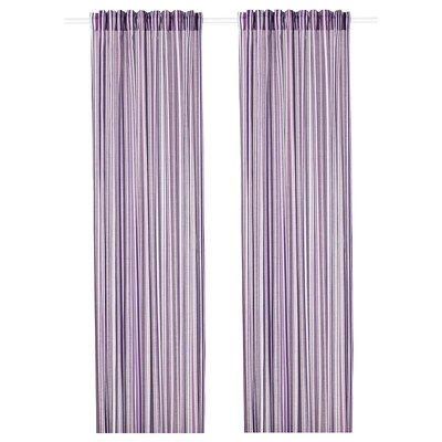 PRAKTKLOCKA Curtains, 1 pair, lilac/striped, 145x300 cm