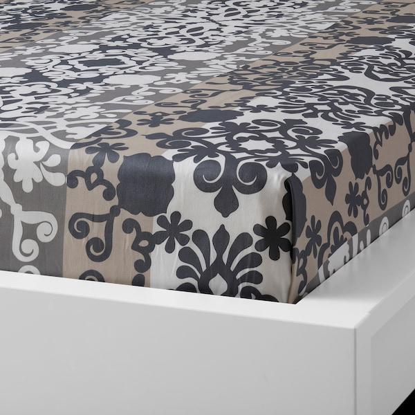 PRAKTTRY Flat sheet and 2 pillowcase, grey/white/beige, 240x260/50x80 cm