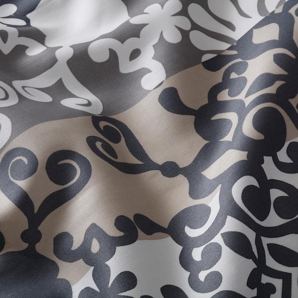 PRAKTTRY Flat sheet and pillowcase, grey/white/beige, 150x260/50x80 cm