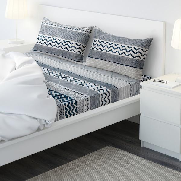 PROVINSROS Flat sheet and 2 pillowcase, white/blue, 240x260/50x80 cm