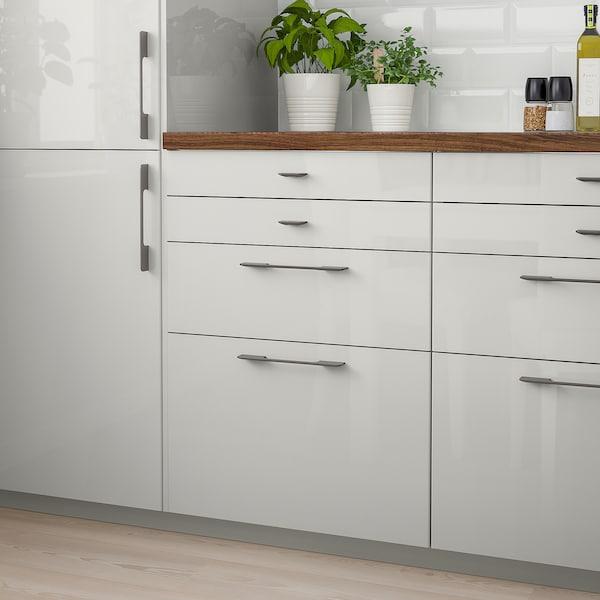 RINGHULT Drawer front, high-gloss light grey, 60x10 cm