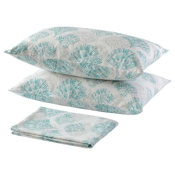 RÖDFIBBLA Flat sheet and 2 pillowcase, grey, 240x260x50x80 cm