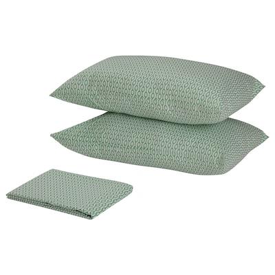 RÖDVED Flat sheet and 2 pillowcase, white/green, 240x260/50x80 cm