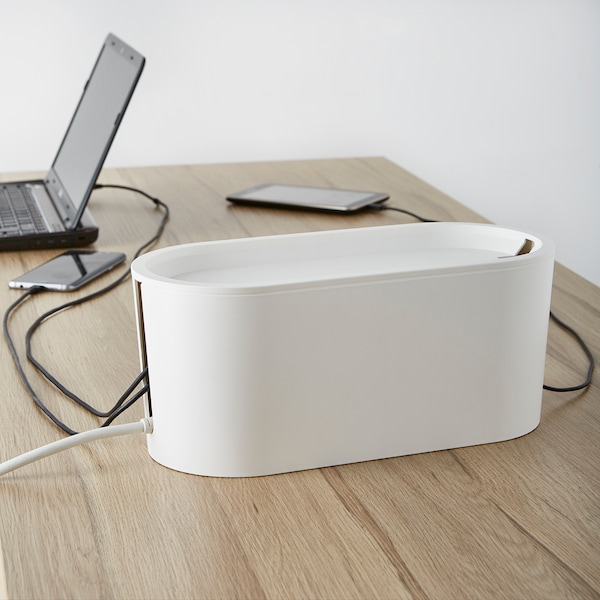 ROMMA cable management box with lid white 33 cm 15 cm 14 cm