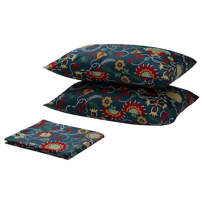 ROSENRIPS Flat sheet and 2 pillowcase, blue/patterned, 240x260/50x80 cm