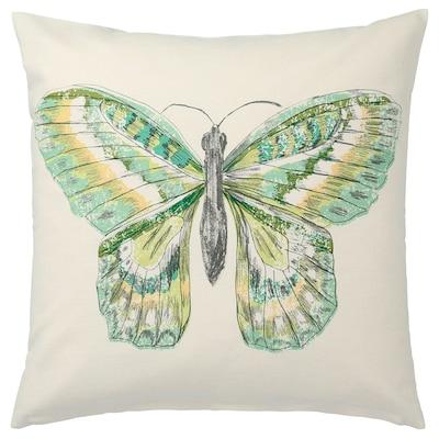 ROTFJÄRIL Cushion cover, natural/multicolour, 50x50 cm