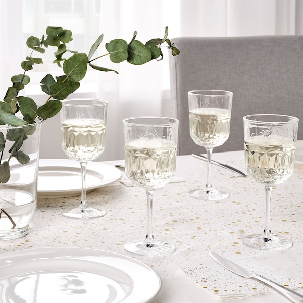 SÄLLSKAPLIG Wine glass, clear glass/patterned, 27 cl