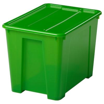 SAMLA Box with lid, green, 39x28x28 cm/22 l
