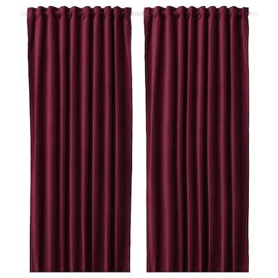 SANELA Room darkening curtains, 1 pair, dark red, 140x300 cm