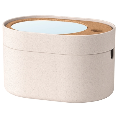 SAXBORGA storage box with mirror lid plastic cork 24 cm 17 cm 14 cm