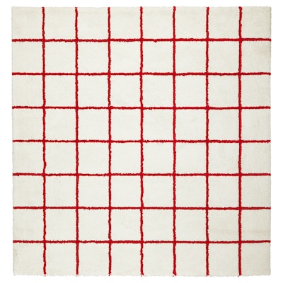 SIMESTED Rug, high pile, white/red, 200x200 cm